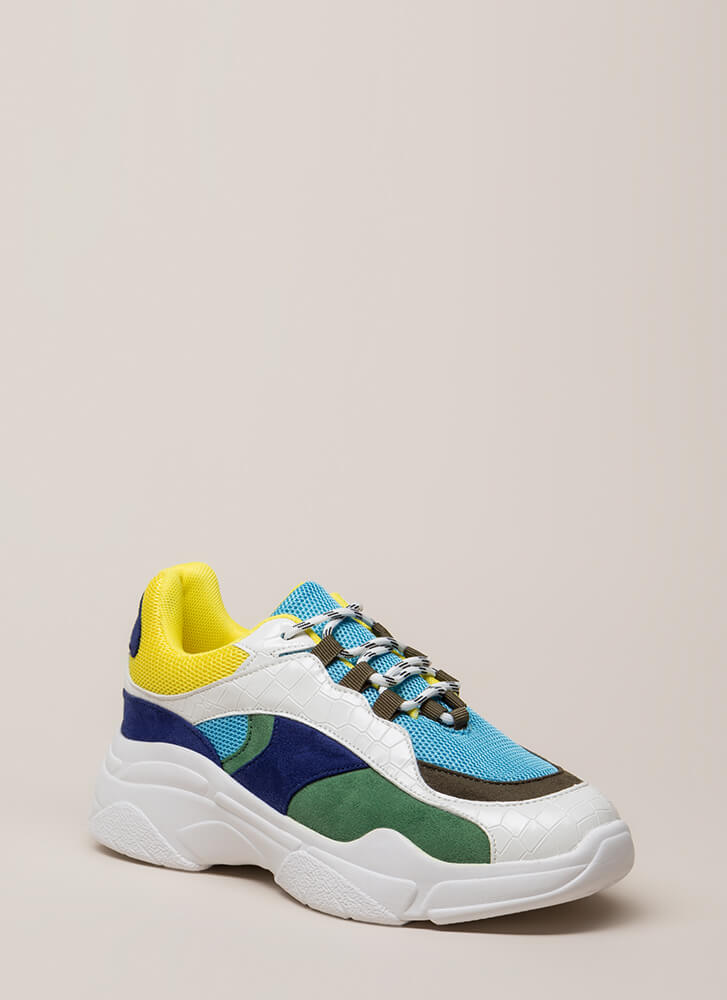 Mix It Up Colorblock Platform Sneakers BLUE (You Saved $25)