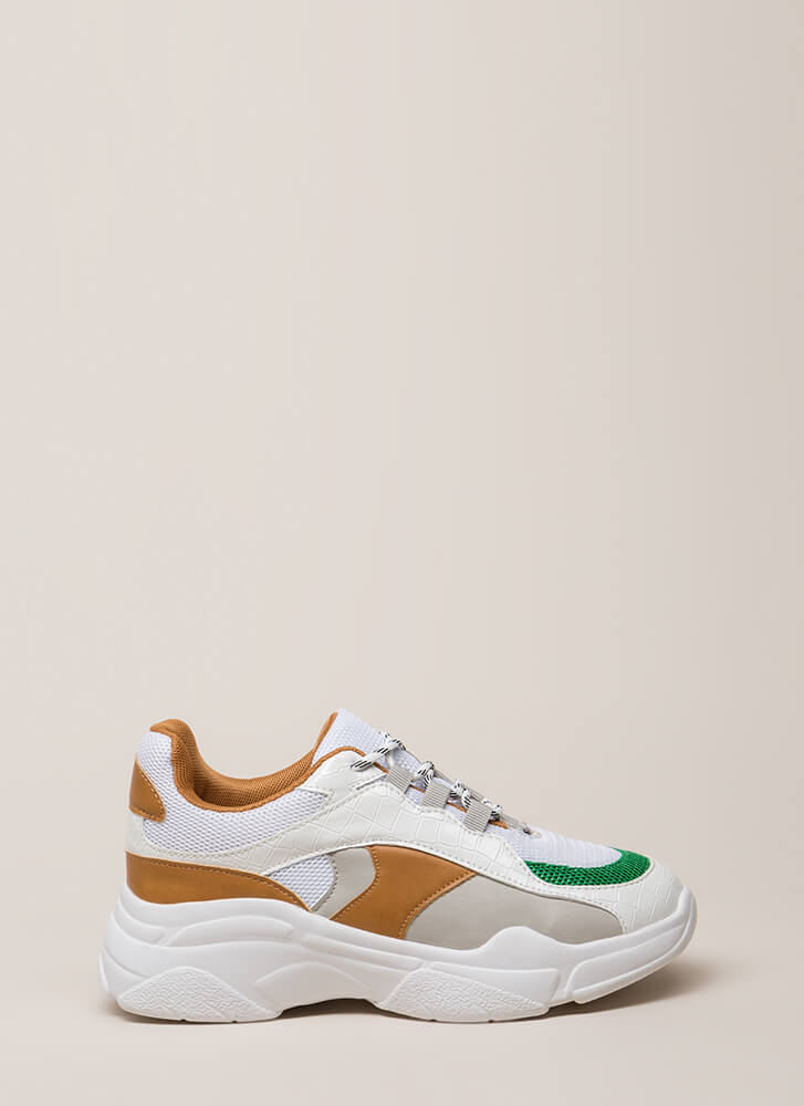 Mix It Up Colorblock Platform Sneakers WHITE