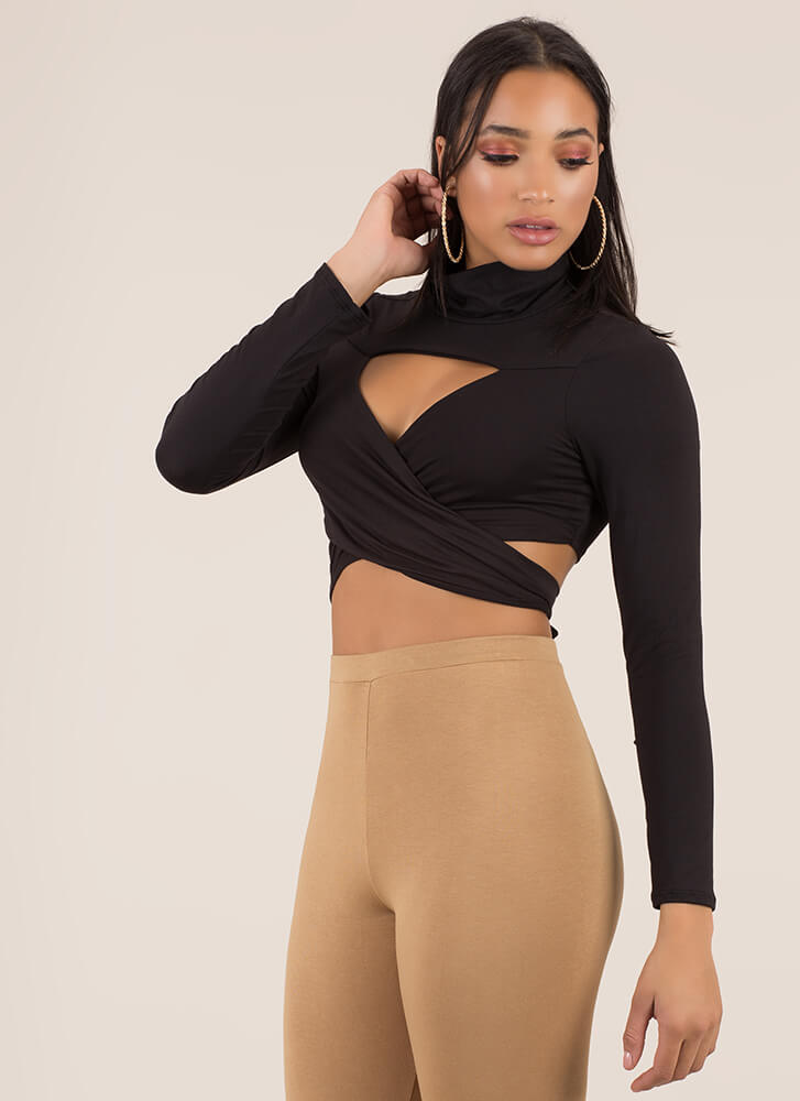 Tie Another Day Turtleneck Multi-Way Top BLACK