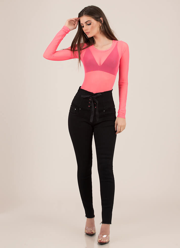 Laced It High-Waisted Skinny Jeans BLACK