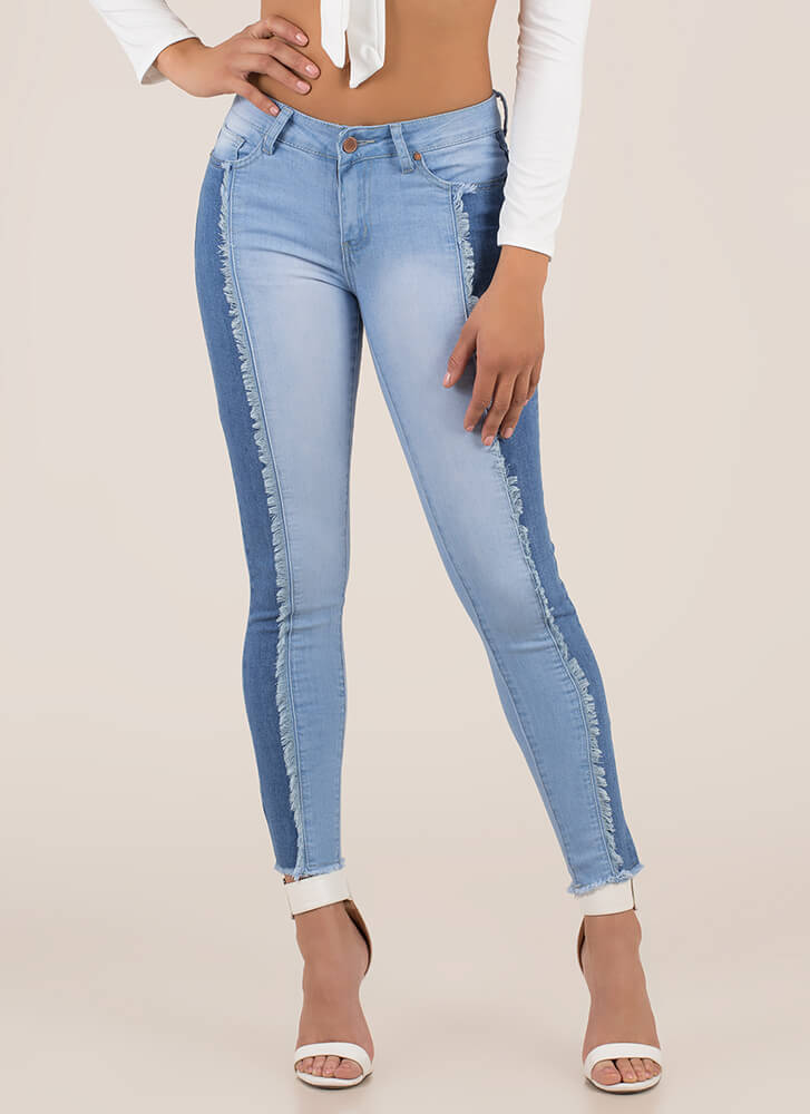 Split Personality Fringed Skinny Jeans BLUEMULTI