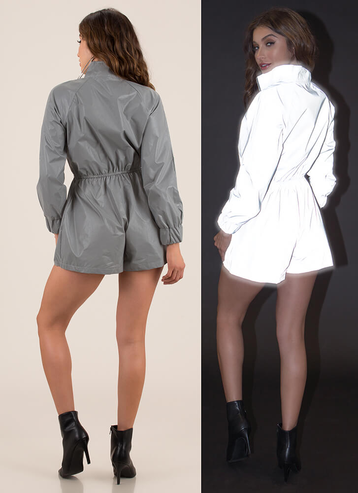 Flash Mob Reflective Zip-Front Romper SILVER (Final Sale)