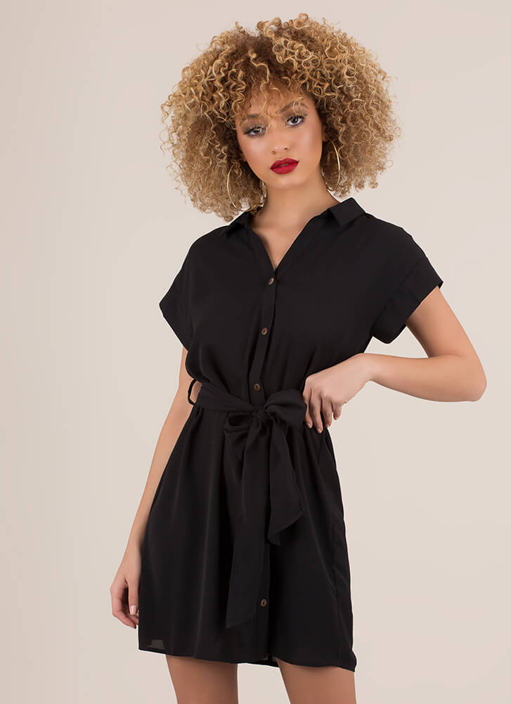 Cute And Casual Tied Shirt Dress BLACK