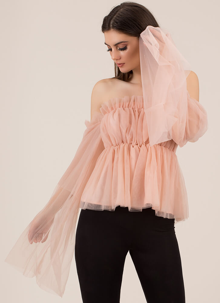 Tulle Good To Be True Off-Shoulder Top BLUSH