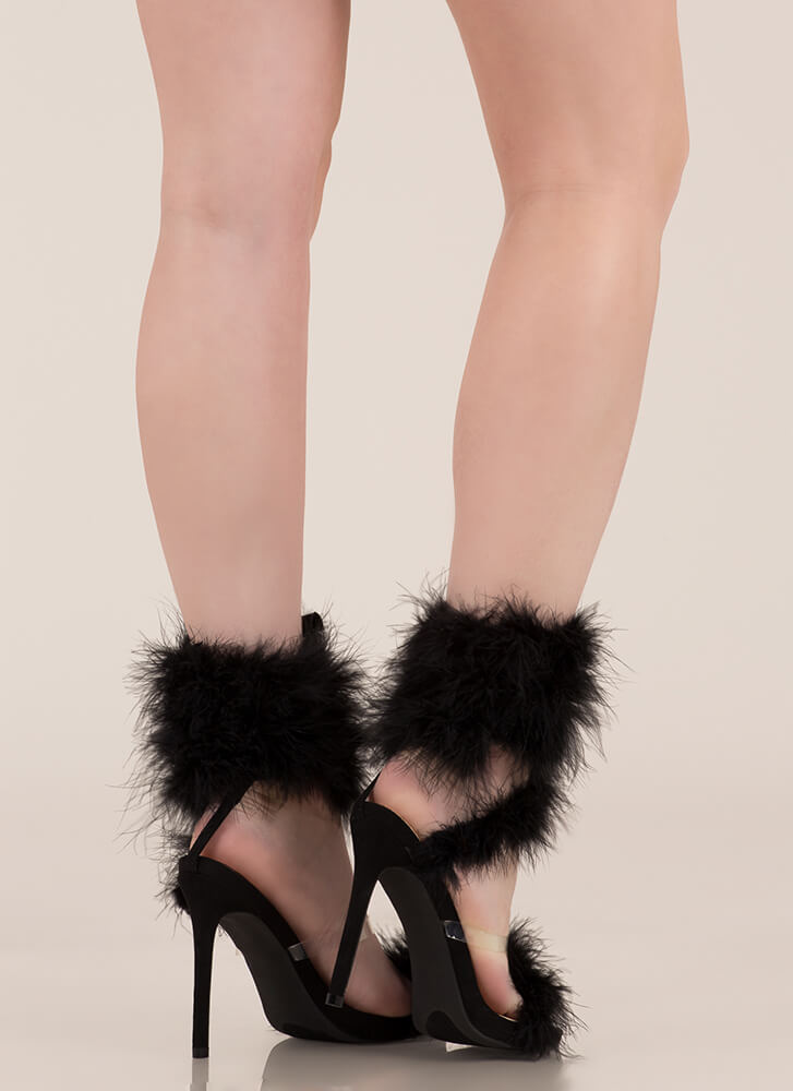 In Fine Feather Furry Coiled Heels BLACK