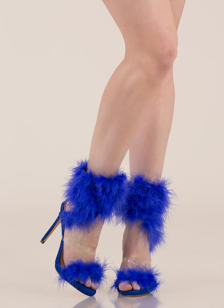 In Fine Feather Furry Coiled Heels BLUE