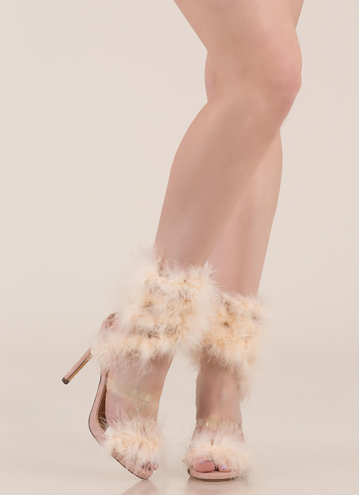 In Fine Feather Furry Coiled Heels NUDE