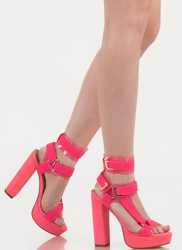 Band Mate Iridescent Caged Platforms NEONPINK