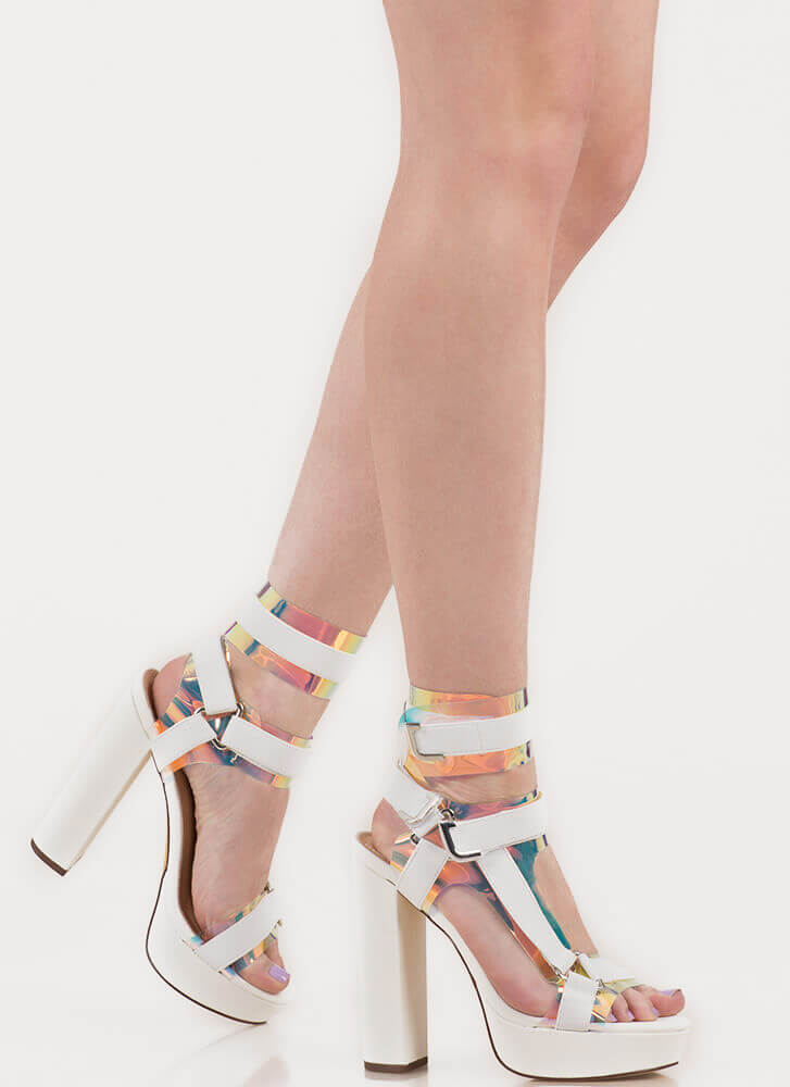 Band Mate Iridescent Caged Platforms WHITE