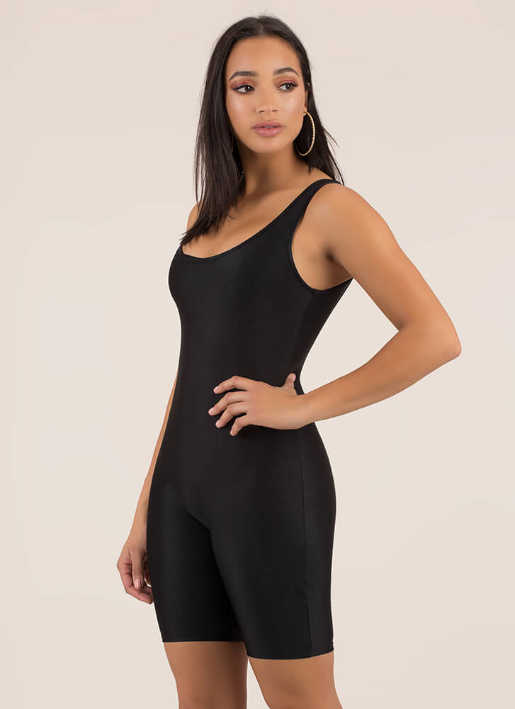 Werking Out Nylon Biker Short Romper BLACK