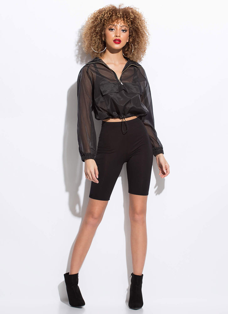 Athleisurely Stroll Sporty Sheer Top BLACK