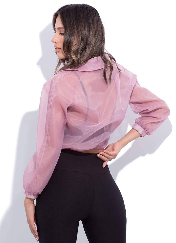 Athleisurely Stroll Sporty Sheer Top MAUVE