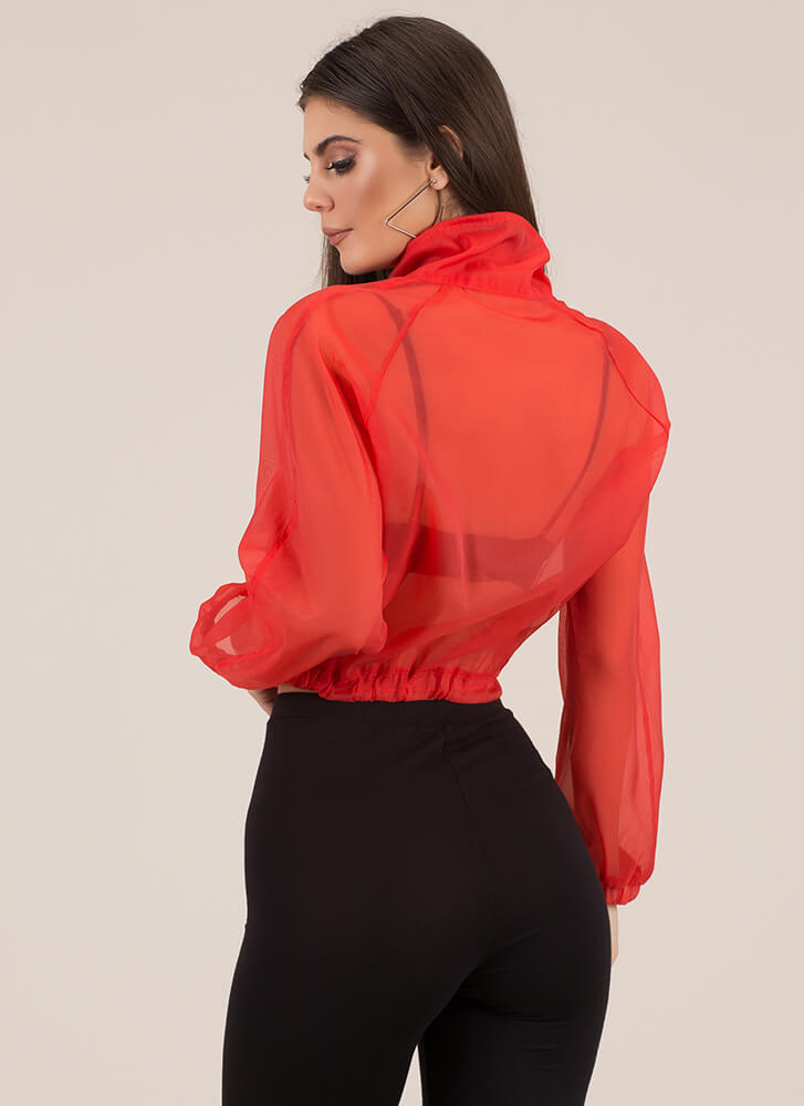 Athleisurely Stroll Sporty Sheer Top RED