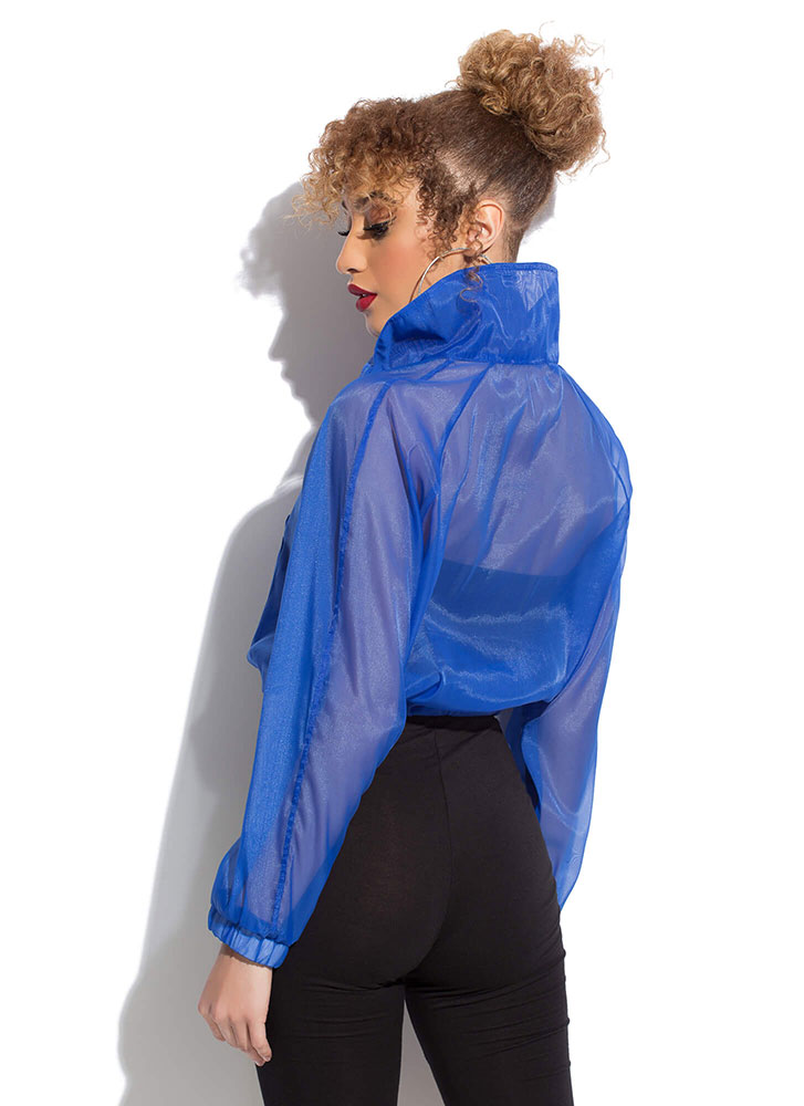 Athleisurely Stroll Sporty Sheer Top ROYAL