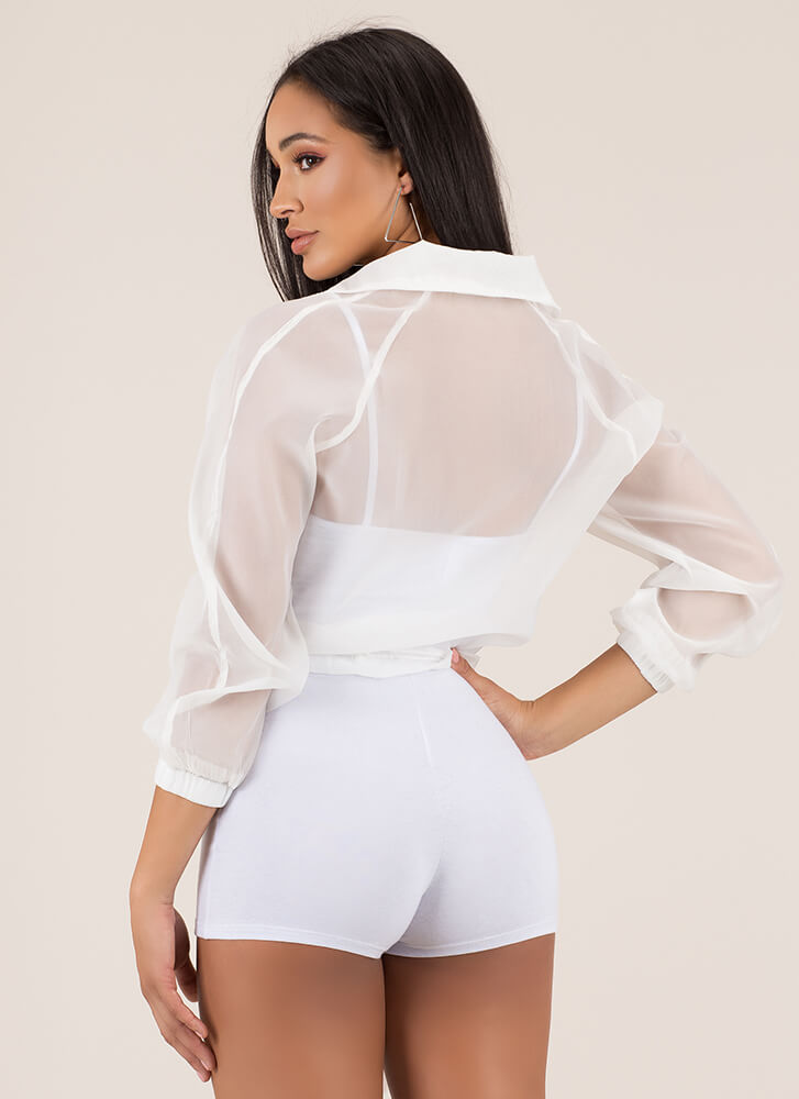 Athleisurely Stroll Sporty Sheer Top WHITE
