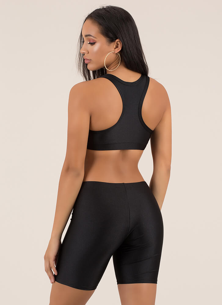 Werking Out Nylon Top And Shorts Set BLACK