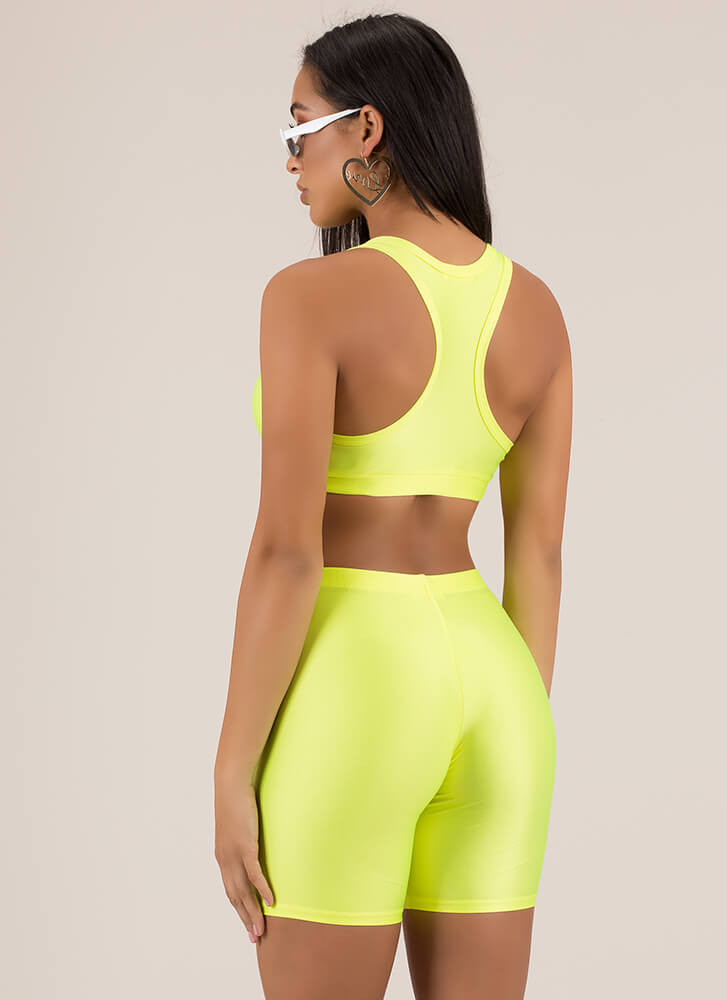 Werking Out Nylon Top And Shorts Set NEONYELLOW