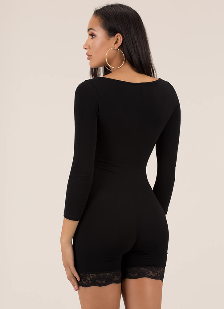 Lady With An Edge Lace Trim Romper BLACK