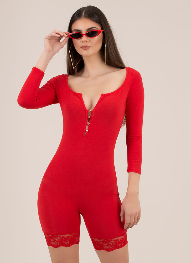 Lady With An Edge Lace Trim Romper RED