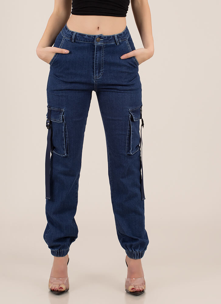 Too Cool To Handle Denim Cargo Joggers DKBLUE