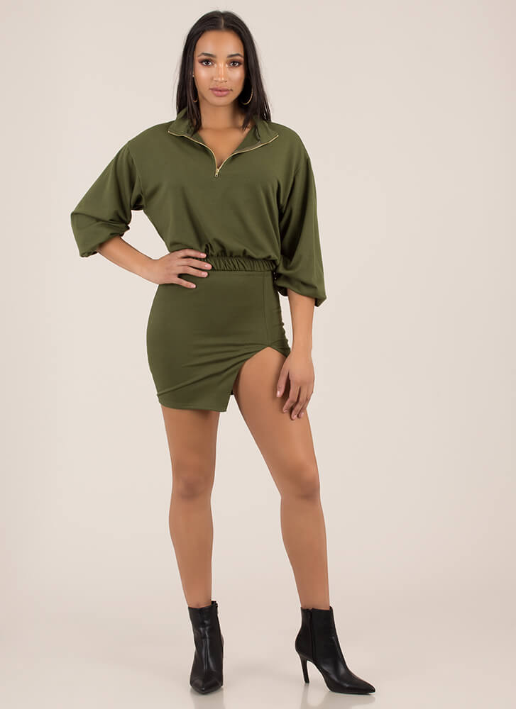 Sporty Girls Unite Top And Skirt Set OLIVE