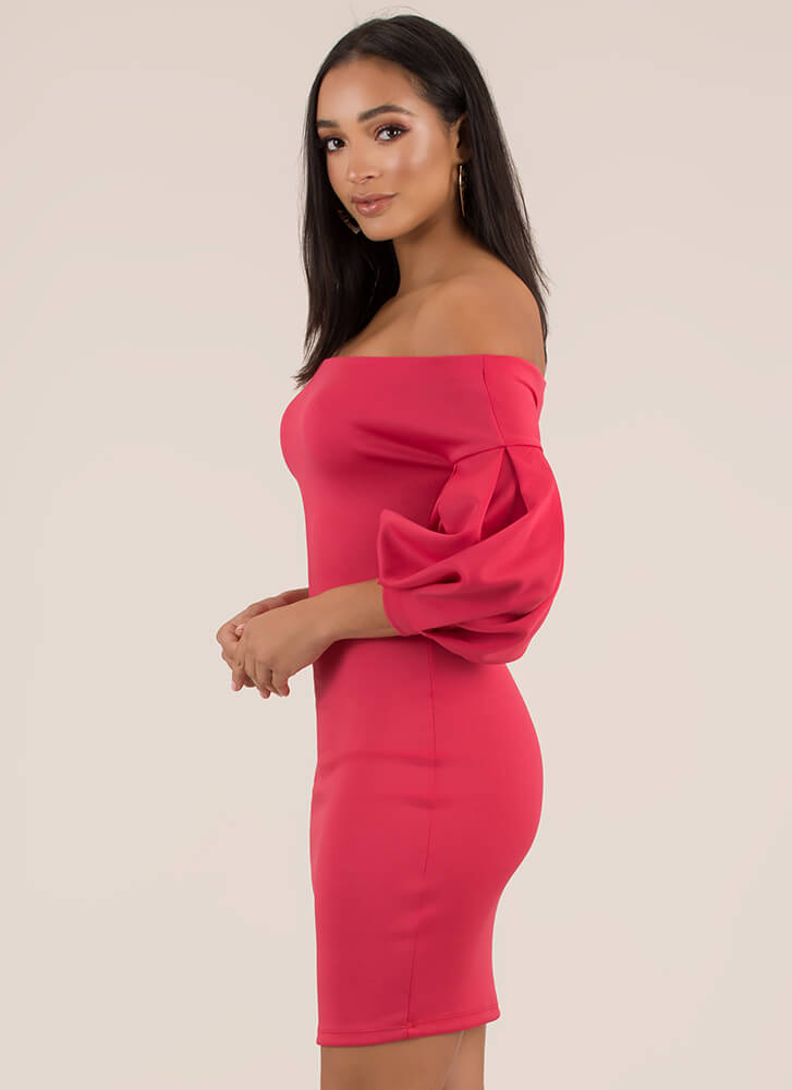 Puff Love Off-The-Shoulder Dress PINK