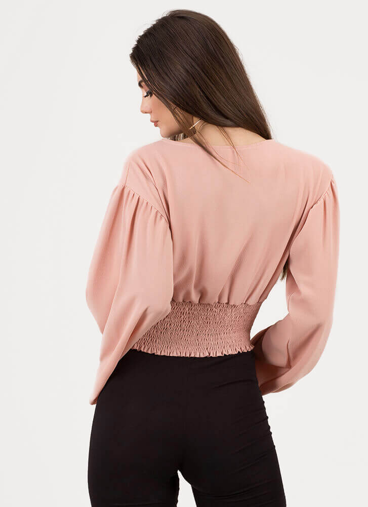 Poetry Plunging Puffy Sleeve Crop Top MAUVE