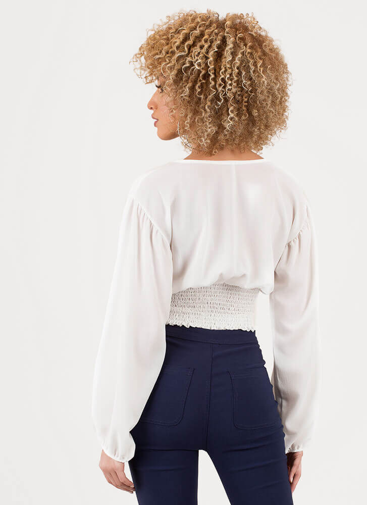 Poetry Plunging Puffy Sleeve Crop Top WHITE