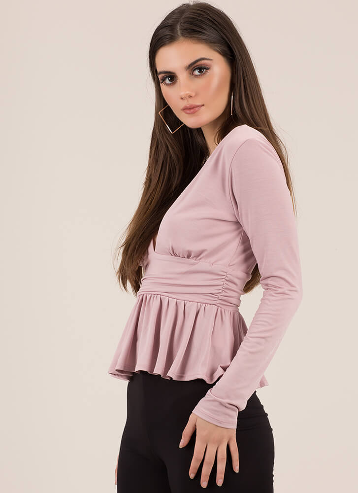 Pretty Perfect Plunging Peplum Top MAUVE