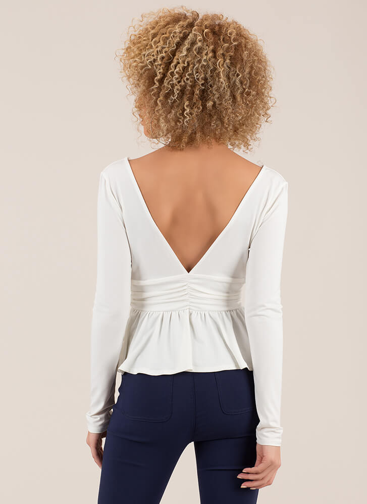 Pretty Perfect Plunging Peplum Top WHITE