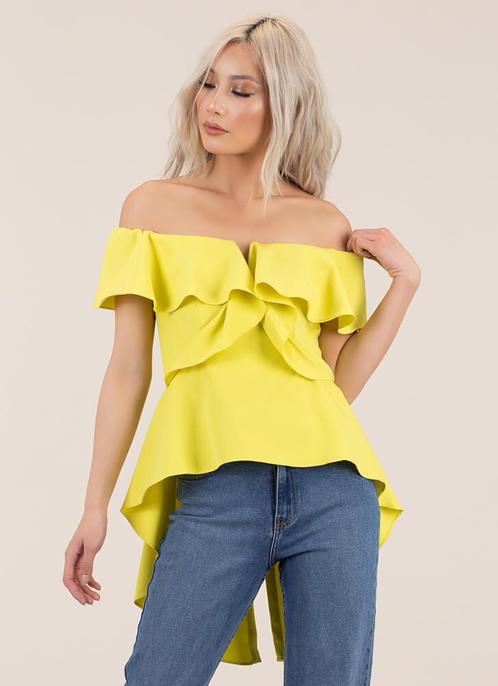 Ruffle Winner Off-Shoulder High-Low Top LIME