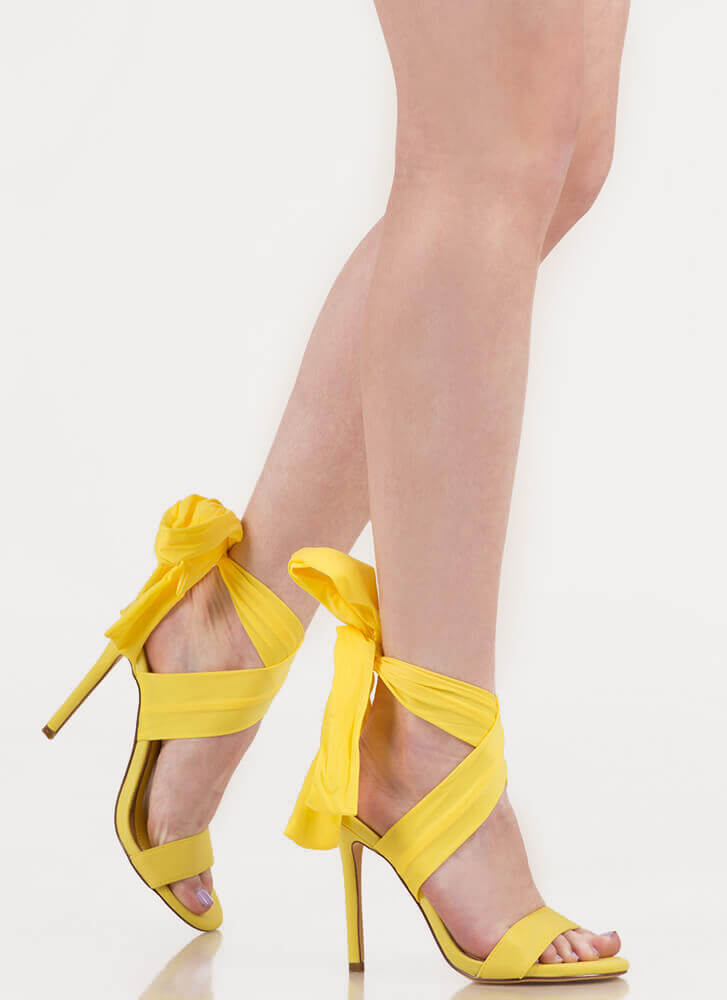 Sash Me Outside Strappy Lace-Up Heels YELLOW