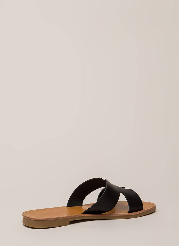 Take It Easy Faux Leather Slide Sandals BLACK