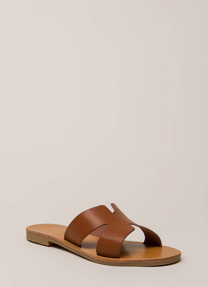 Take It Easy Faux Leather Slide Sandals WHISKY