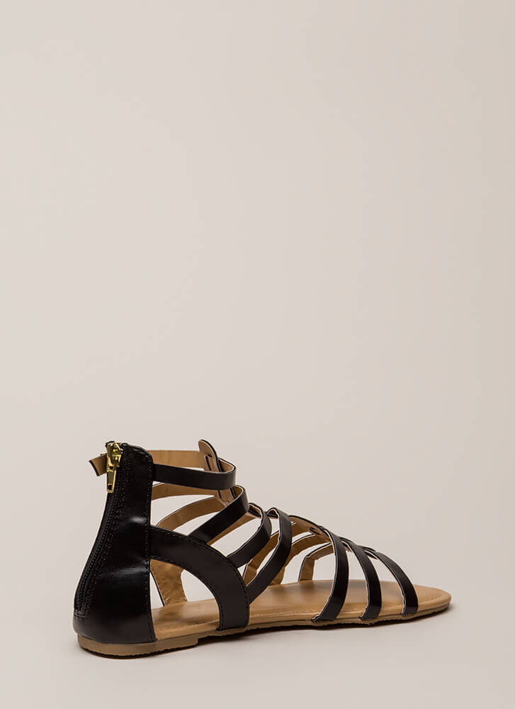 Fight On Strappy Gladiator Sandals BLACK