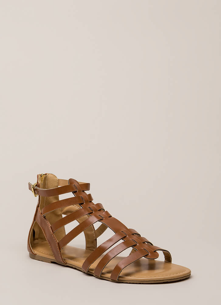 Fight On Strappy Gladiator Sandals WHISKY
