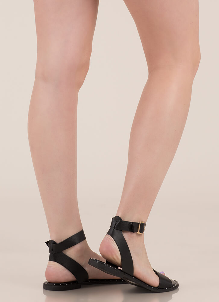 Think Simply Strappy Studded Sandals BLACK