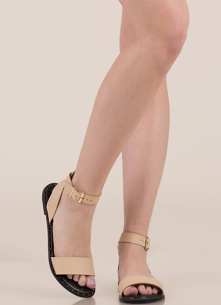 Think Simply Strappy Studded Sandals NUDE