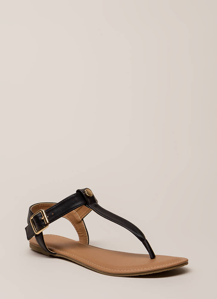 That's The Way T-Strap Sandals BLACK