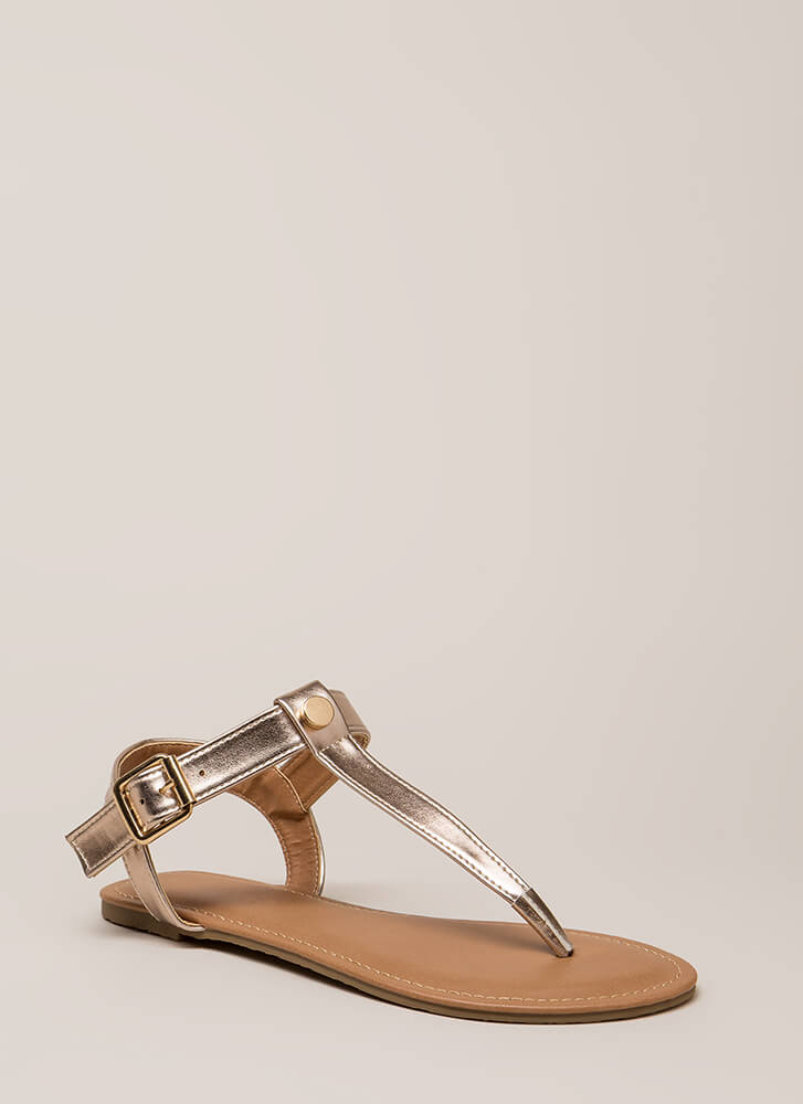 That's The Way T-Strap Sandals ROSEGOLD