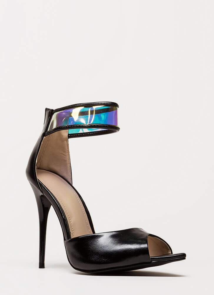 In A Flash Holographic Peep-Toe Heels BLACK