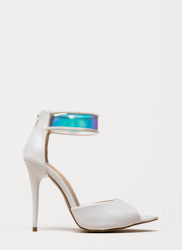 In A Flash Holographic Peep-Toe Heels WHITE