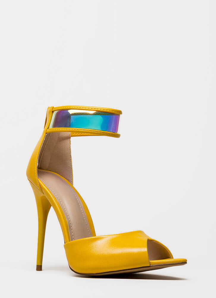 In A Flash Holographic Peep-Toe Heels YELLOW