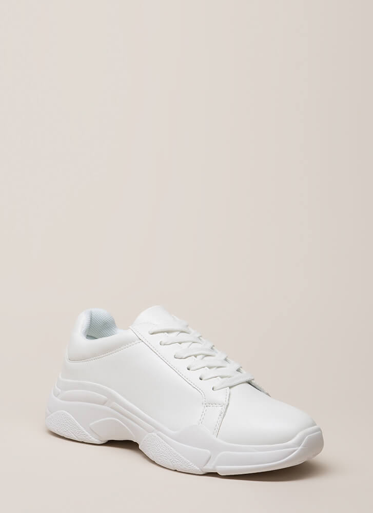 Run Don't Walk Platform Sneakers WHITE (You Saved $25)