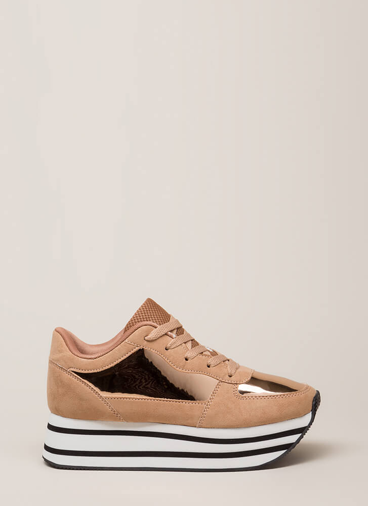 High Shine Striped Platform Sneakers ROSEGOLD
