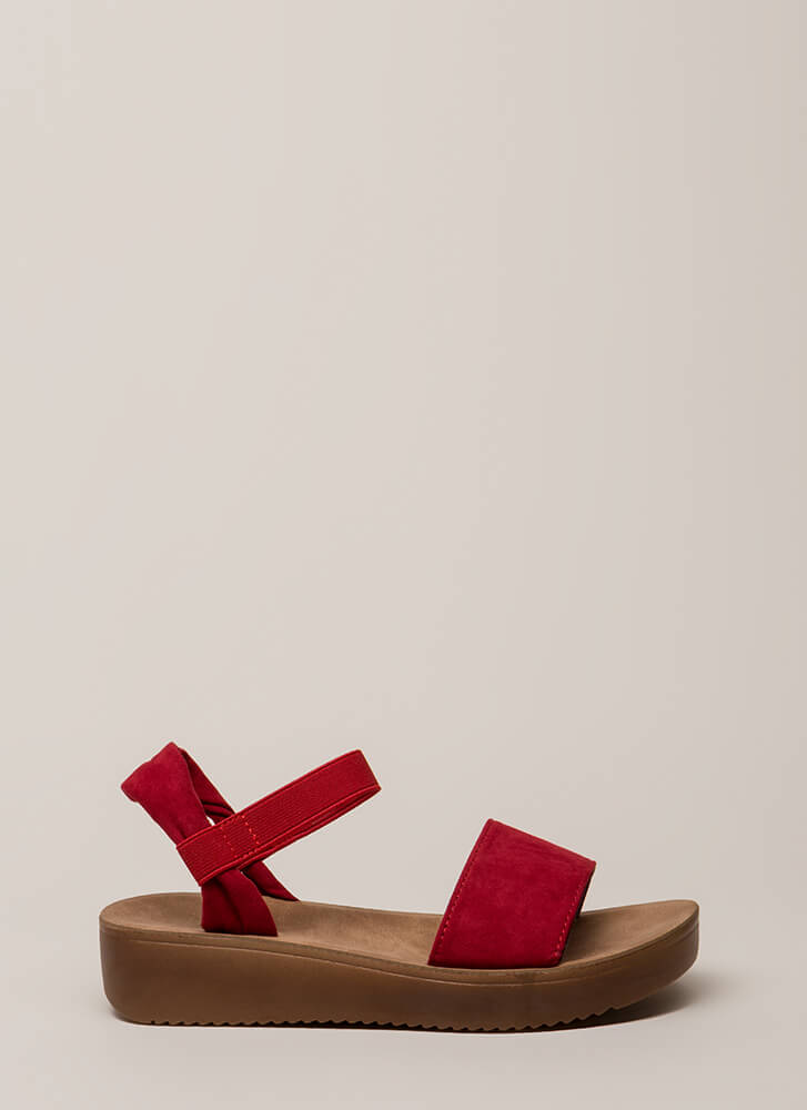 Walk In The Park Platform Sandals RED (You Saved $14)