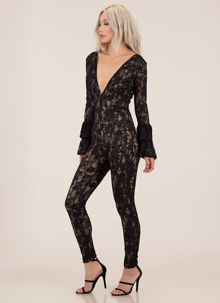 Lace Get It On Bell Sleeve Jumpsuit BLACK