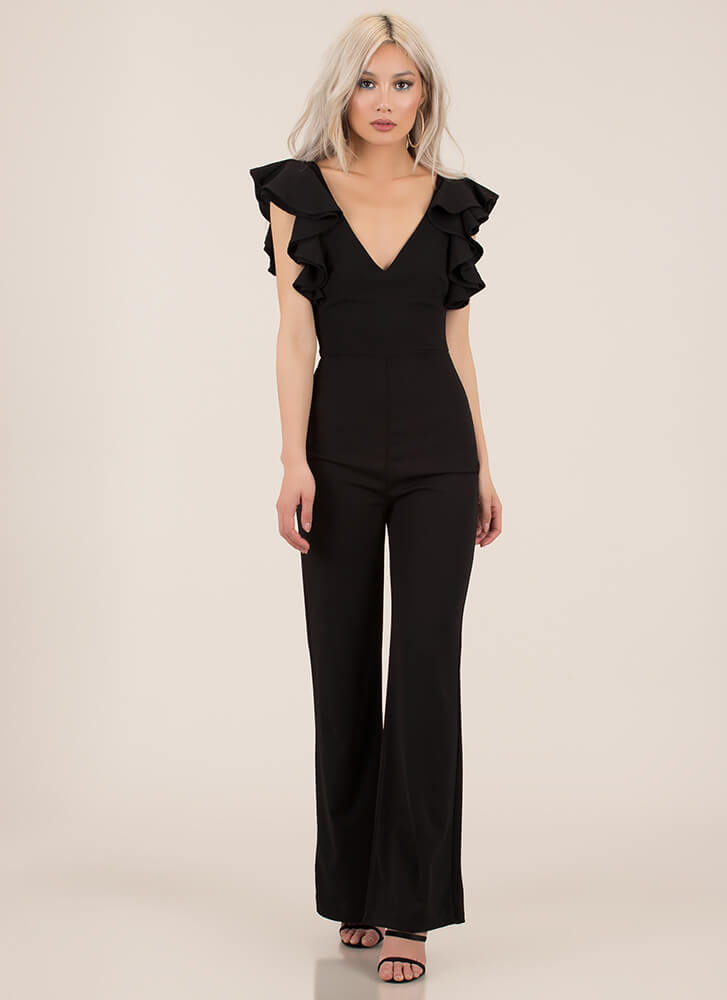 Pretty Perfect Ruffle Sleeve Jumpsuit BLACK