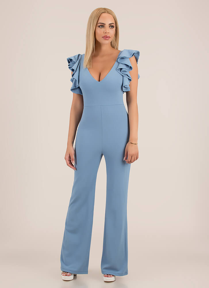Pretty Perfect Ruffle Sleeve Jumpsuit LTBLUE