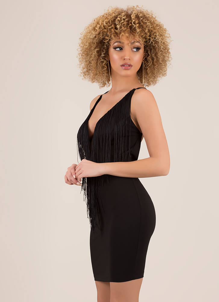Fringe Benefits Plunging Open-Back Dress BLACK